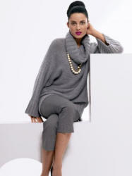Grey cowl neck sweater £30 (45 Euros). Grey crop trousers £35 (51 Euros). Accessories from a selection at Wallis.